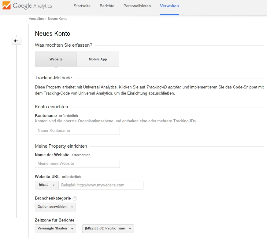 Anlegen eines Google Analytics Konto